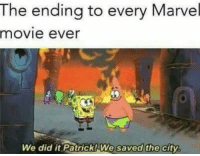"Dank, Meme, and Marvel: The ending to every Marvel  movie ever  We did it  Patrick!We saved the city <p>Don't even needa spoil me anything via /r/dank_meme <a href=""https://ift.tt/2vOYRo0"">https://ift.tt/2vOYRo0</a></p>"
