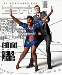 Memes, 🤖, and The Entertainer: THE ENTERTAINMENT ISSUE  LIVE FRIM NEW YIRK! IT'S  LESLIE JONES  AND  KRISTAPS  PORINGIS lesliejones and kristapsporzingis cover espnmag entertainment issue