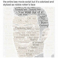 The Bee Movie Script: the entire bee movie script but it's colorized and  stylized as robbie rotten's face  All right.  Thinking bee! Thinking bee!  snap out of it!  Like what?  Adam?  Oh, no!  NO  OK  Looking Sharp.  Bye  Nah  Frce the boost Free the bees  Ooming!  This  Thinking bee!  stairs father  Yellow, black. Yellow black  Thinking bee  Hi!  Annen  Vanessa! don't know  Barry  Hi Bain  Ni body ofThe ground  TNour of aviation  WoW  Roses!  Hello  Yeah  lta wing are too to get  A  What?  Igotta say something