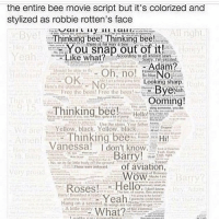 the entire bee movie script but it's colorized and  stylized as robbie rotten's face  Bye!  Thinking bee! Thinking bee!  snap out of it!  Like What?  Adam?  NO  OK.  Looking sharp.  ByeNah  Free the bees Free the bee  Ooming!  Thinking bee!  Hello!  hinking bee Hi!  Amien  Vanessa! I don't know  of aviation  Wow  of H  Bar  Roses!  Hello  Yeah  What? THE MEMES YES Cred: @funny_clean_owl