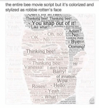 the entire bee movie script but it's colorized and  stylized as robbie rotten's face  All nght  Thinking bee! Thinking bee!  You snap out of it!  what?  Honi  Adam?  Oh, no! No  OK.  Looking sharp.  ByeNa  Free the bees Free the beest  Ooming!  Thinking bee!  Hello!  Main fall  Yellow, black, Yellow black  Thinking bee  Hi!  Amen  Vanessa! I don't know.  Barry!  No ide body ground  of aviation  WoW.  Roses!  Hello  Yeah  I gotta say something robbierotten christmas merrychrustmas happyholidays bee bees beemovie savethebees memepage followforfollow beemovie memes meme memer likeforlike followus