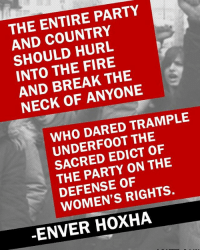 Memes and 🤖: THE ENTIRE PARTY  AND HURL  INTO THE FIRE  AND BREAK THE  NECK OF ANYONE  WHO DARED TRAMPLE  THE  SACRED EDICT OF  PARTY ON THE  DEFENSE RIGHTS.  ENVER HOXHA Happy International Womens Day, Comrades! ✊