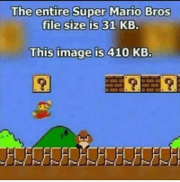 Mario: The entire Super Mario Bros  file size is 31 KB.  This image is 410 KB.
