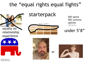 """the """"i believe women should get equal rights and equal lefts"""" starter pack: the """"equal rights equal fights""""  starterpack  50% satire  50% unironic  opinion  SKIN TONES  results may vary  PORCELAIN  WARM IVORY  DAND  usually no  relationship  experience  IVORY  under 5'8""""  NATURAL  VARM BRIGF  BEIOE  HONEY  ALMOND  GOLOEN  CHESTNUY  ESPRESSO  or  possibly down the  alt-right rabbit hole the """"i believe women should get equal rights and equal lefts"""" starter pack"""