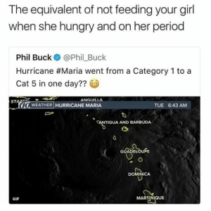 Gif, Hungry, and Period: The equivalent of not feeding your girl  when she hungry and on her period  Phil Buck @Phil_Buck  Hurricane #María went from a Category 1 to a  Cat 5 in one day??  ANGUILLA  STAES  10  ·WEATHER HURRICANE MARIA  TUE 6:43 AM  ANTIGUA AND BARBUDA  GUADELOUPE  DOMINICA  GIF  MARTINIQUE memehumor:  Savage