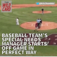 Baseball, Mlb, and Sports: THE  Ericchumbler  WILD  CARD  BASEBALL TEAM'S  SPECIAL NEEDS  MANAGER STARTS  OFF GAME IN  PERFECT WAY It's moments like this that make sports great. 💯