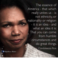 Memes, Condoleezza Rice, and Essence: The essence of  America that which  really unites us is  not ethnicity, or  nationality or religion  it is an idea and  what an idea it is:  That you can come  from humble  circumstances and  do great things  Condoleezza Rice Truth!