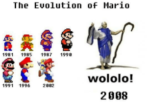 Mario, Fft, and Wololo: The Euolution of Mario  1981  1985  1987  1990  fft  wololo!  1991 1996  2002  2008 https://t.co/X3cWT0XIsh