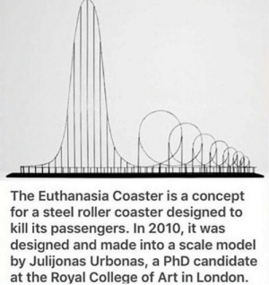.: The Euthanasia Coaster is a concept  for a steel roller coaster designed to  kill its passengers. In 2010, it was  designed and made into a scale model  by Julijonas Urbonas, a PhD candidate  at the Royal College of Art in London. .