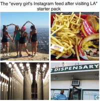 """Girls, Instagram, and Starter Packs: The """"every girl's Instagram feed after visiting LA""""  starter pack  DISPENSAARY  Robertson  C The most true except it's missing the excessive overly filtered photos of palm trees. Oh and the classic Paul smith pink wall. (@mo_wad)"""