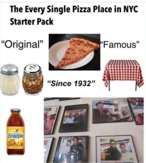 "🍕: The Every Single Pizza Place in NYC  Starter Pack  Famous""  ""Original""  ""Since 1932""  Snapple  AL 🍕"