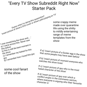 """The """"Every TV Subreddit Right Now"""" Starter Pack: The """"Every TV Subreddit Right Now"""" Starter Pack"""