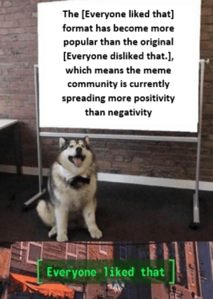 Genuinely so proud of this community: The [Everyone liked that]  format has become more  popular than the original  [Everyone disliked that.],  which means the meme  community is currently  spreading more positivity  than negativity  ENS  Everyone liked that  tifde Genuinely so proud of this community