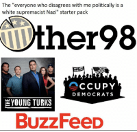 "Memes, Buzzfeed, and White: The ""everyone who disagrees with me politically is a  white supremacist Nazi"" starter pack  ther98  WE ARI  THE  CCUPY  DEMOCRATS  YOUNG TURKS  BuzzFeeD"