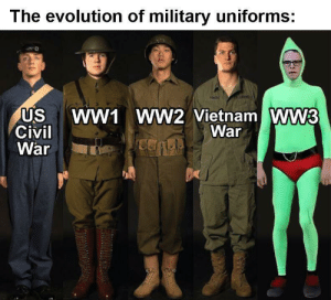 Suit up boys: The evolution of military uniforms:  WW1 WW2 Vietnam WW3  War  US  Civil  War Suit up boys