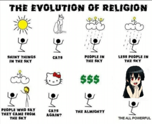 Anime, Cats, and Meme: THE EvOLUTION OF RELIGION  PEOPLE IN  THE SKY  LESS PEOPLE IN  THE SKY  SHINY THINGS  IN THE SKY  CATS  PEOPLE WHO SAY  THEY CAME FROM  THE SKY  CATS  AGAIN?  THE ALMIGRTY  THE ALL POWERFUL Akame ga kill meme #315