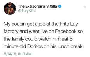 The American Dream by NewsZilla MORE MEMES: The Extraordinary Xilla  @BlogXilla  My cousin got a job at the Frito Lay  factory and went live on Facebook so  the family could watch him eat 5  minute old Doritos on his lunch break.  8/14/18, 8:13 AM The American Dream by NewsZilla MORE MEMES