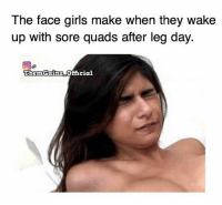 Them squats though. @themgainz_official: The face girls make when they wake  up with sore quads after leg day.  Then Gainz Official Them squats though. @themgainz_official