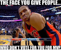 Straight up though. Snap👻: NationOfHoops Tags: Russ NBA MVP: THE FACE YOU GIVE PEOPLE...  OKLAHOMA  GNBANEMES  106  105  FINAL  NUGGI  WHO DON'T VOTE FOR YOU FOR MVP Straight up though. Snap👻: NationOfHoops Tags: Russ NBA MVP