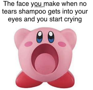 Crying, Funny, and Pain: The face you make when no  tears shampoo gets into your  eyes and you start crying  u/MikSaysHi The pain