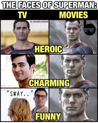"""Christopher Reeve, Memes, and Vision: THE FACES OF SUPERMAN  MOVIES  IGIBLERD. VISION  HEROIC  CHARMING  SWAY.  FUNNY """"Martha"""" was funny, but that wasn't intentional. 🤔😂 Seriously though. If you guys are fans of Superman and haven't watched Supergirl, do yourselves a favor and check out the first 2 episodes of season 2 ASAP. -- NO HATE TO @henrycavill! I just think that, unlike in Man of Steel, the character of Superman wasn't serviced well by the BvS script (he's a damn afterthought). Haters be damned, Tyler Hoechlin coupled with the writers on Supergirl is giving us the best live action rendition of the Man of Steel out right now. He's like a spiritual successor to Christopher's Reeves charming take on the Boy in Blue. Boy's got Sway. 😂 SupergirlJokes @melissabenoist @tylerl_hoechlin"""