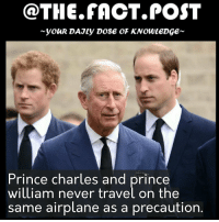 Memes, Prince, and Airplane: @THE FACT POST  you DAJLy Dose oF KNOWLEDGE  Prince Charles and  Orince  william never travel on the  same airplane as a precaution Follow us for more @the.fact.post facts