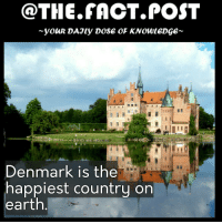 Memes, Denmark, and Earth: @THE FACT POST  youR DAJly DOSE OF KNOWLEDGE  Denmark is the  happiest country on  earth Denmark has free healthcare and education, low suicide rate, gender equality etc. Follow us for more @the.fact.post facts denmark