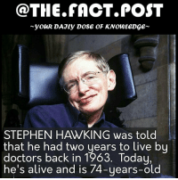 Alive, Memes, and Stephen: @THE FACT. POST  youR DAJLy DOSE OF KNOWLEDGE  STEPHEN HAWKING was told  that he had two years to live by  doctors back in 1963. Today,  he's alive and is 74-years-old Harambe didn't even have a warning Follow us for more @the.fact.post facts