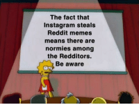Instagram, Memes, and Reddit: The fact that  Instagram steals  Reddit memes  means there are  normies among  the Redditors.  Be aware They could be any one of us