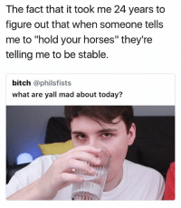 """hold!: The fact that it took me 24 years to  figure out that when someone tells  me to """"hold your horses"""" they're  telling me to be stable.  bitch @philsfists  what are yall mad about today? hold!"""