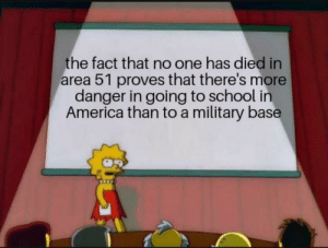 And thats a fact: the fact that no one has died in  area 51 proves that there's more  danger in going to school in  America than to a military base And thats a fact