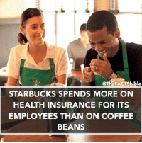 Memes, Health Insurance, and 🤖: @The FACTS bible  STARBUCKS SPENDS MORE ON  HEALTH INSURANCE FOR ITS  EMPLOYEES THAN ON COFFEE  BEANS 🐸 ☕️