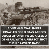 Make sure to follow @thefactsbible for amazing facts daily 😱: @The FACTsbible  A VIETNAM WAR SNIPER  CRAWLED FOR 3 DAYS ACROSS  2000M OF OPEN FIELD, KILLED A  GENERAL WITH A PERFECT SHOT  THEN CRAWLED BACK Make sure to follow @thefactsbible for amazing facts daily 😱