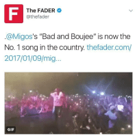 """Congratulations to Migos! BadAndBujee is now the number one song in the country! 👏💯 @Migos @TheFader WSHH: The FADER  @thefader  s """"Bad and Boujee"""" is now the  (a Migos  No. 1 song in the country thefader.com/  2017/01/09/mig  GIF Congratulations to Migos! BadAndBujee is now the number one song in the country! 👏💯 @Migos @TheFader WSHH"""