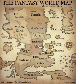 Memes, Pop, and Lost: THE FANTASY WORLD MAP  charted by Dan Meth  Krull  The Wardrobe  Oz  Emerald City  Narnia  Never  Neverland  : . Middle, Wonderland) I iniput  The hire Earth  Westeros  |  Mordor  where The wild  Things Are  Sollew  Utopia  Living  Island  Lidsville  Terabithia  Dinotopia  0) Sodor  Hattilattener's  Island  Moomin  Valley  Hyrule  Thra  Earth-Sea  FantasiaLabyrinth  Land of  The Lost  Kadath  Lankhmar  eoiAvalon  Dreamlands  Nehwon  Camelot  Florin  #12 In A Series Of Pop-Cultural Charts  danmeth.com