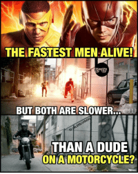 "Memes, 🤖, and Mach: THE FASTEST MEN ALIVE!  BUT BOTH MARE SLOWER.  M6LERDVISION  NIG THAN A DUDE  ONA MOTORCYCLE? Unless that motorcycle was going Mach 2... this sh*t made NO sense! It took them over a minute to catch up to that dude with Joe West throwing out lines like, ""They are ruuunniiiin!"" No, Joe. No, they are not. They are jogging. 😂 -- Anyone else literally facepalm at this scene like me? Lol 🚨 And be sure to listen to the latest episode of Blerd Vision [LINK IN BIO] for our DCTV reviews of the week, JusticeLeagueDark and more!"