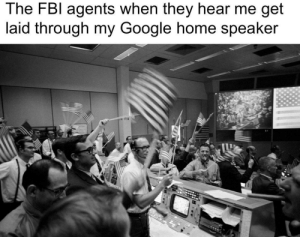 the eagle has landed ….houston, we have a problem..: The FBI agents when they hear me get  laid through my Google home speaker  P F14 the eagle has landed ….houston, we have a problem..