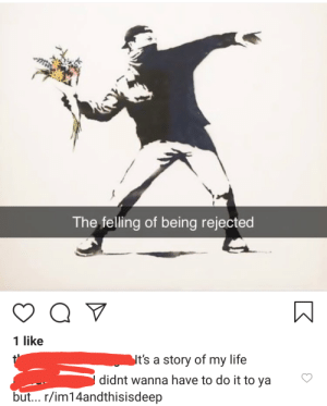 Life, Im 14 & This Is Deep, and Story of My Life: The felling of being rejected  Q V  1 like  Nt's a story of my life  didnt wanna have to do it to ya  but... r/im14andthisisdeep Had to do it to em'