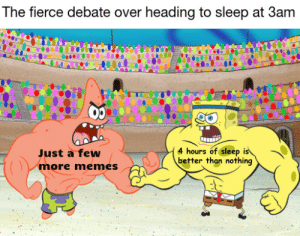 I'm all out of ideas at this point: The fierce debate over heading to sleep at 3am  4 hours of sleep is  better than nothing  Just a few  more memes I'm all out of ideas at this point