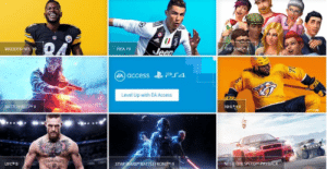 Fifa, Madden NFL, and Nfl: THE  FIFA 19  MADDEN NFL  een  Level Up with EA Access  BATTLEFIELD V  NHL 49  UFC#3  NEED FPR SPEEDTM-PAY  STARWARS~ BATTLE FRONT EA Access will arrive on PS4 consoles this July. $5 monthly subscription for library usage, discounts, and new game previews.