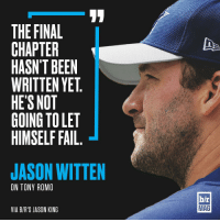 """BRmag Exclusive: A """"soul-crushing"""" injury ended his comeback season before it could begin, and an upstart rookie may have taken his job. But you haven't seen the last of Tony Romo. Download the B-R app for the full story (link in bio): THE FINAL  CHAPTER  HASN'T BEEN  WRITTEN YET  HE'S NOT  GOING TOLET  HIMSELF FAIL  JASON WITTEN  ON TONY ROMO  VIA BIR'S JASON KING  b/r  MAG BRmag Exclusive: A """"soul-crushing"""" injury ended his comeback season before it could begin, and an upstart rookie may have taken his job. But you haven't seen the last of Tony Romo. Download the B-R app for the full story (link in bio)"""