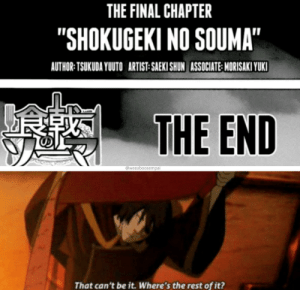 "Anime, Artist, and Rest: THE FINAL CHAPTER  ""SHOKUGEKI NO SOUMA""  AUTHOR: TSUKUDA YUTO ARTIST SAEKI SHUN ASSOCIATE MORISAKI YUKI  THE END  @weeaboosempai  That can't be it. Where's the rest of it? Where's the rest?"