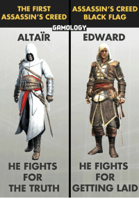 THE FIRST  ASSASSIN'S CREED  ASSASSIN'S CREED  BLACK FLAG  GAMOLOGY  ALTAIR  EDWARD  HE FIGHTS  HE FIGHTS  FOR  FOR  THE TRUTH GETTING LAID Assassin's creed throughout the years!