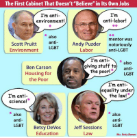 "Ben Carson, Lgbt, and Memes: The First Cabinet That Doesn't ""Believe"" in Its 0wn Jobs  I'm  I'm anti-  anti-labor!  environment!  also  mentor was  Scott Pruitt  anti  Andy Puzder notoriously  LGBT  Labor  anti-LGBT  Environment  I'm anti  also  giving stuff to  anti  the poor!  LGBT  Ben Carson  Housing for  the Poor  I'm anti-  equality under  I'm anti  the law!  science!  also  also  anti-  anti-  LGBT  Devos  Jeff Sessions  LGBT  Betsy Education  Law  Mrs. Betty Bowers Just based on his cabinet picks, Trump's presidency is ALREADY a disaster for the American people.   Thanks to Mrs. Betty Bowers, America's Best Christian."
