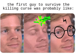 Scared Potter?: the first guy to survive the  killing curse was probably like: Scared Potter?