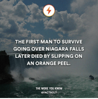 Memes, The More You Know, and Gizmodo: THE FIRST MAN TO SURVIVE  GOING OVER NIAGARA FALLS  LATER DIED BY SLIPPING ON  AN ORANGE PEEL.  THE MORE YOU KNOW  @FACTBOLT Follow the world with @intravelist ✈️🌏 — RIP Bobby Leach. — Source: http:-gizmodo.com-the-second-person-to-survive-a-trip-over-niagara-falls-1595599357