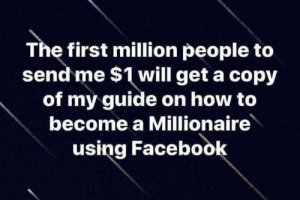Dank, Facebook, and How To: The first million people to  send me $1 will get a copy  of my guide on how to  become a Millionaire  using Facebook
