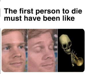 High quality meme: The first person to die  must have been like High quality meme