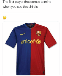 Memes, Mind, and 🤖: The first player that comes to mind  when you see this shirt is  unicef Comment below