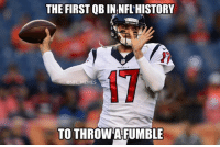 Nfl, Mark Sanchez, and Credited: THE FIRST QB INNFLHISTORY  @NFL MEMES  TO THROWAFUMBLE Your move, Mark Sanchez  Credit: Matthew Haley